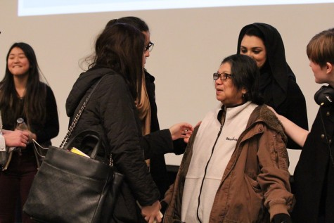 Sonia speaks with students after her last Morning Meeting appearance at LFA.