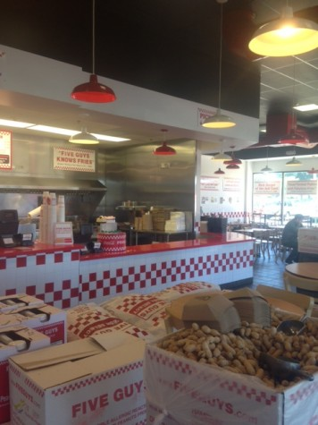 We found the interior of the Five Guys enjoyable, and comfortable. Free fresh, peanuts all inclusive