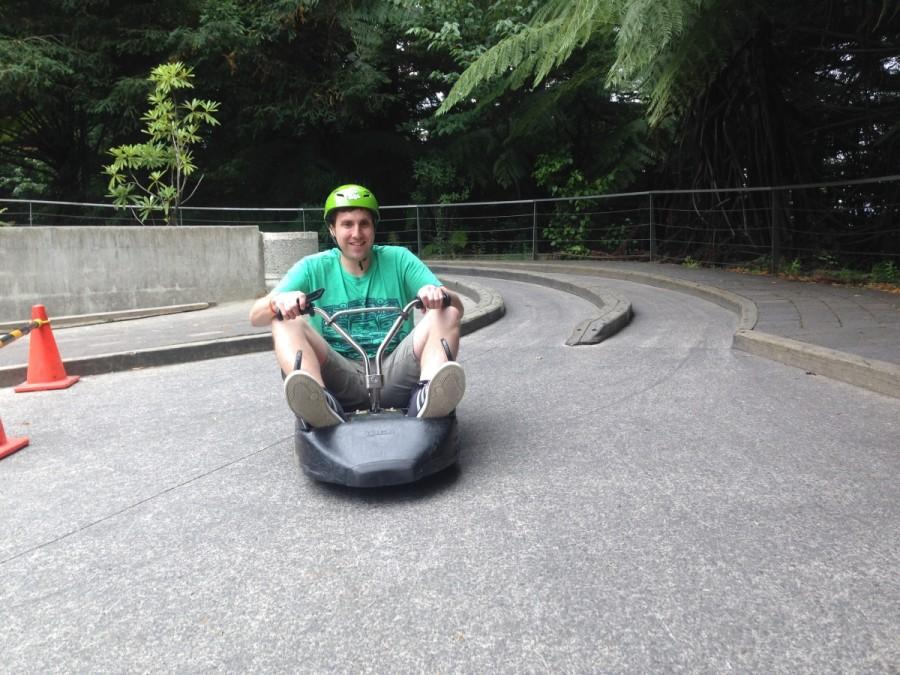 World History teacher Sam Wold is ecstatic throughout his ride on the luges.