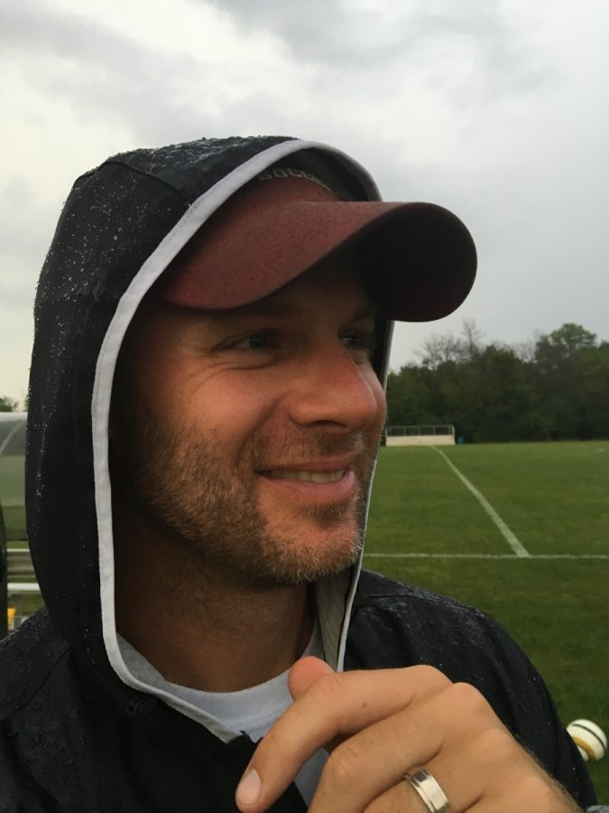 Coach Makovec Expresses happiness as his soccer team wins 4-1 against Francis parker.