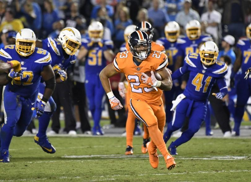 Devontae Booker looks to boost the Broncos run game after a rough few weeks by starter C.J. Anderson.  Photo Courtesy of the Denver Post.