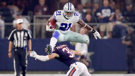 Ezekiel Elliott leads the NFL in rushing, and if the Cowboys are going to beat the Eagles, he along with Dak Prescott, will need to be at their best. Photo Courtesy of the Sporting News.