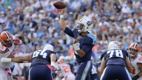 Titans quarterback, Marcus Mariota, will face off with former first overall pick, Andrew Luck, it what looks to be a high scoring affair. Photo Courtesy of ESPN.