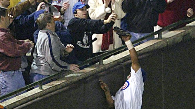Steve Bartman and Moises Alou will forever go down in Chicago Cubs lore, but nor for the right reasons.   Photo Courtesy of FOX Sports.