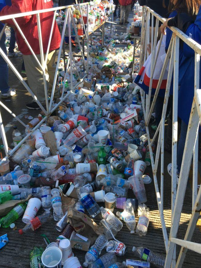 For security reasons, before entering Grant Park, people had to throw away any open bottles causing a lot of amounts of garbage