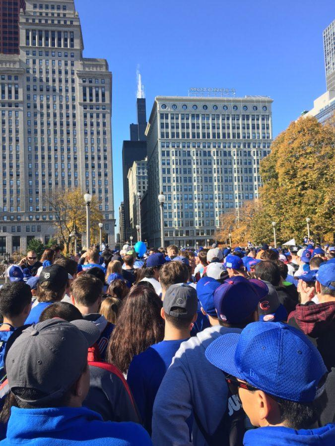 Fans trying to get to the train stations and other respective places around Chicago after the Parade