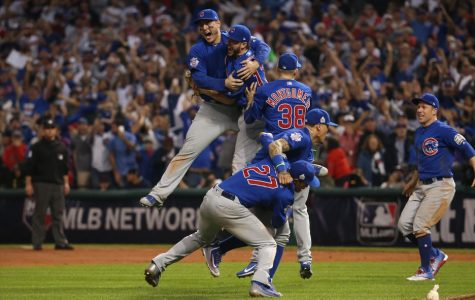 The Chicago Cubs celebrate their World Series win after a heart wrenching game 7.  Photo Courtesy of the Chicago Tribune.