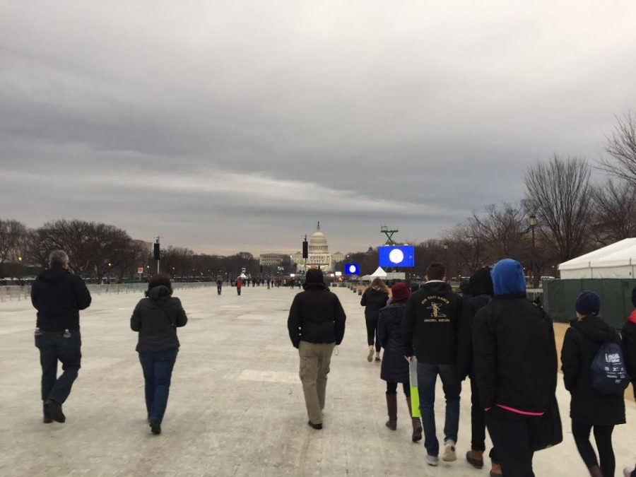 LFA students enter the perimeters of the National Mall two hours prior to the beginning of the Inauguration to find an area to sit.