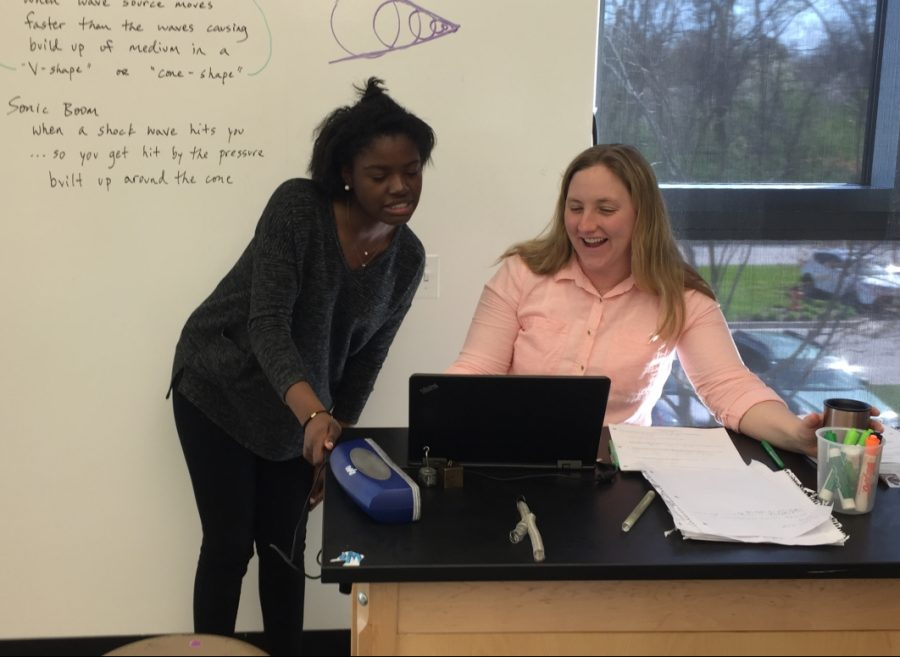 LFA junior Shaena Wright looks over her progress report grades that were released on April 20, 2017 with her advisor Ms. Erica Wood during advisory.