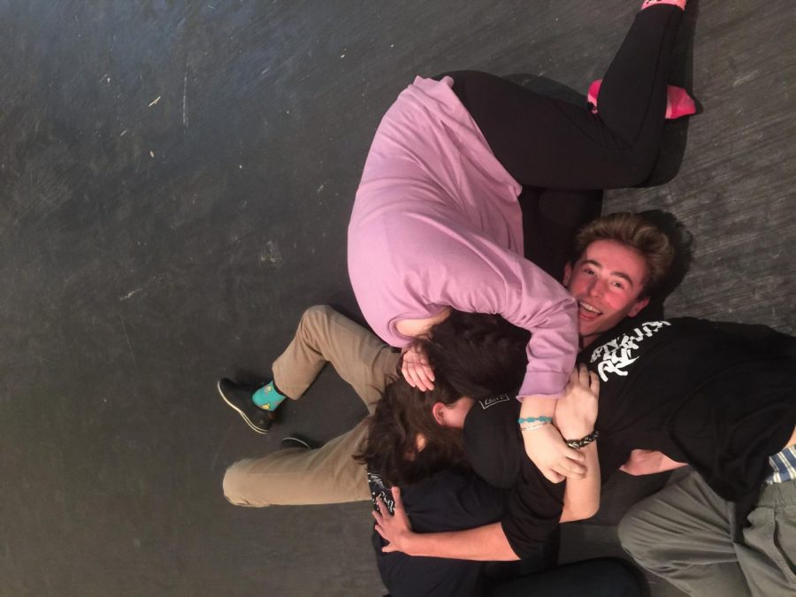 Actors, Lilah Roth, Dominic Scheerer, Sophie Waimon, and tech crew manager, Chris Morrison, take their treasured break time as a moment to bond and grow the connection which comes from being apart of the performing arts at LFA.