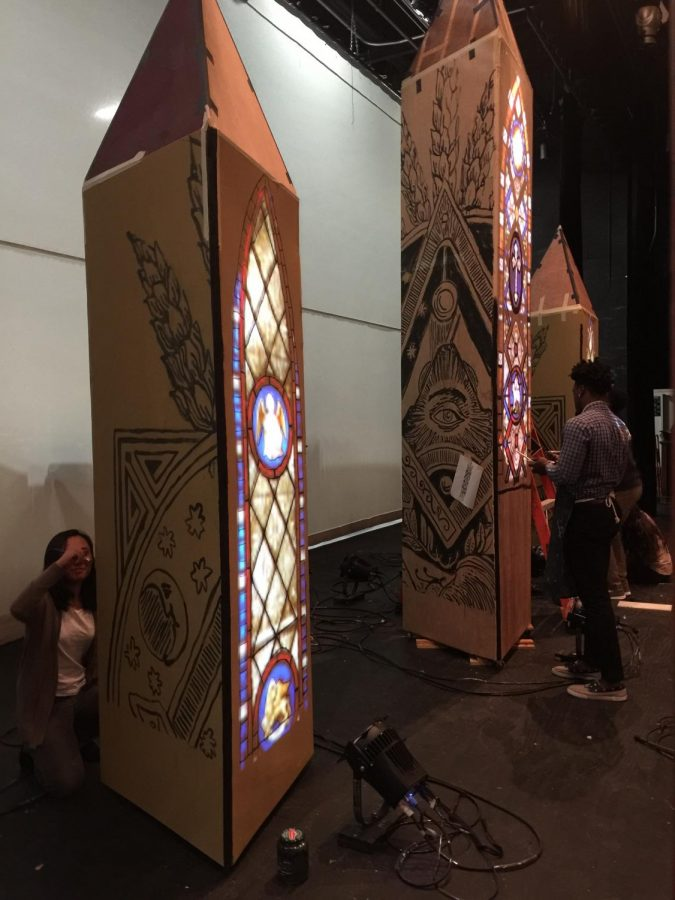 Tech crew class are working diligently on putting the intricate pieces of the set together.