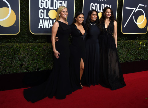 Reese Witherspoon, from left, Eva Longoria, Salma Hayek and Ashley Judd arrive at the 75th annual Golden Globe Awards at the Beverly Hilton Hotel on Sunday, Jan. 7, 2018, in Beverly Hills, Calif. (Photo by Jordan Strauss/Invision/AP)