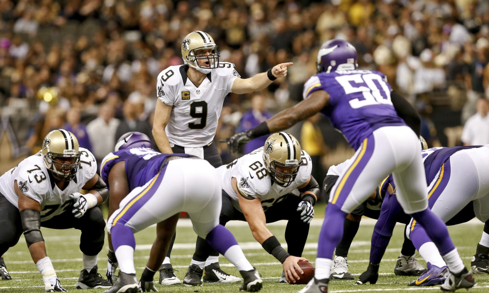 Sep 21, 2014; New Orleans, LA, USA; New Orleans Saints quarterback Drew Brees (9) against the Minnesota Vikings during the second half of a game at Mercedes-Benz Superdome. The Saints defeated the Vikings 20-9. Mandatory Credit: Derick E. Hingle-USA TODAY Sports