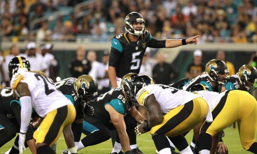 Aug 14, 2015; Jacksonville, FL, USA; Jacksonville Jaguars quarterback Blake Bortles (5) calls a play at the line during the first half of a preseason NFL football game against the Pittsburgh Steelers at EverBank Field. Mandatory Credit: Reinhold Matay-USA TODAY Sports