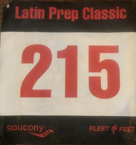 A racing bib for the Latin Prep Classic, an annual meet attended by the LFA Cross Country Team.