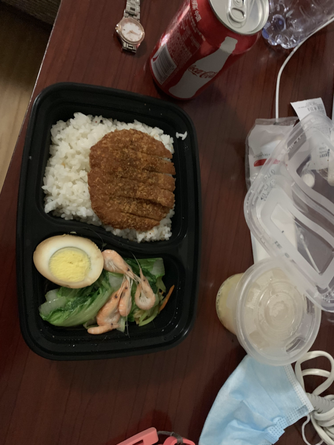 A typical meal from what's handed out in quarantine. They arrive at set times during the day.