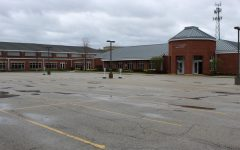Empty LFA lots sit where student and faculty cars usually are parked during the school day.