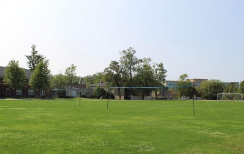 New outdoor courts set up on LFA quad in the center of campus.