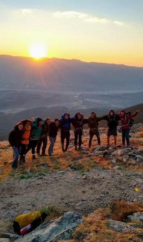 Students clim Mount Massive in Colorado on their first expedition in early September at HMI.