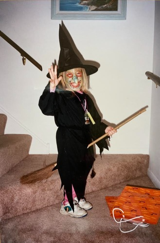 Emily Kalis dressed up as a witch for halloween