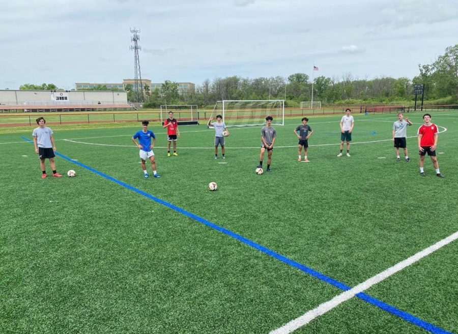 LFA Varsity Soccer Boys practice safe social distancing during their preseason practices.