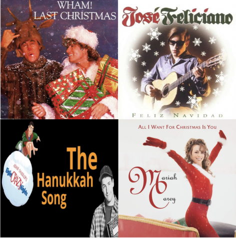 Left to right, Wham!'s Last Christmas, José Feliciano's Feliz Navidad, Adam Sandler's The Chanukah Song, Mariah Care's All I Want For Christmas Is You