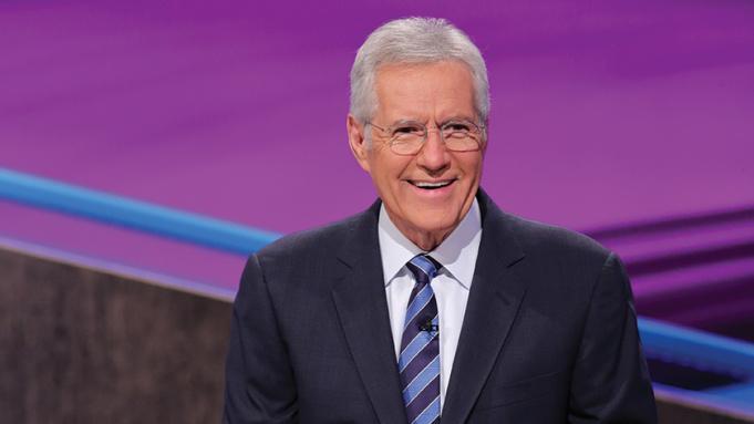 Alex Trebek seen hosting Jeopardy.