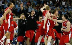 Davidson Mens Basketball Team celebrates a win during March Madness