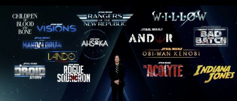 Kathleen Kennedy, president of Lucasfilm, stands in front of some of the new content for Disney+ that was announced at Disney Investor Day 2020.