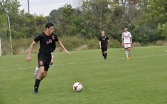Antonio Ferraiolo '21 plays soccer in a Lake Forest Academy match.