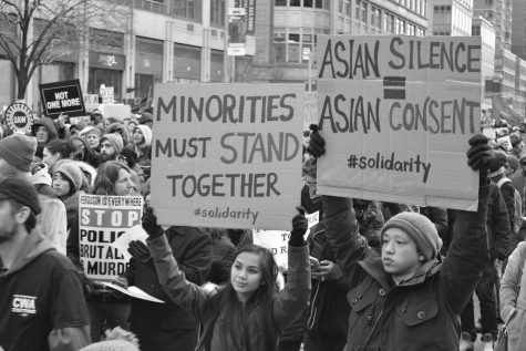 Protestors took to the street to protest Asian hate crimes.