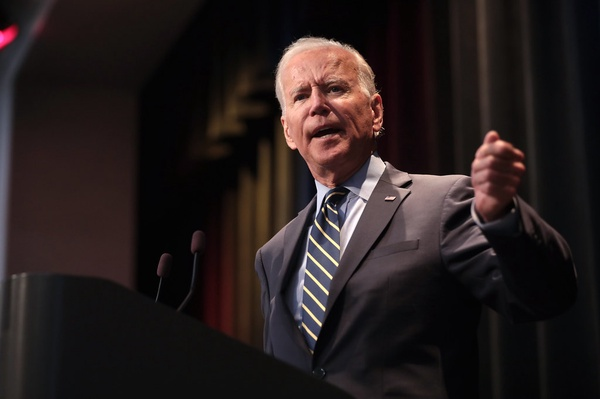Joseph Biden, the 46th president of the United States, makes a speech during the 2019 Iowa Federation of Labor Convention.
